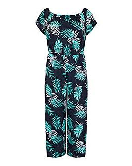 Yumi Curves Palm Print Bardot Jumpsuit
