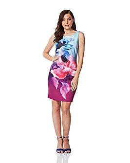 Roman Floral Fitted Scuba Dress