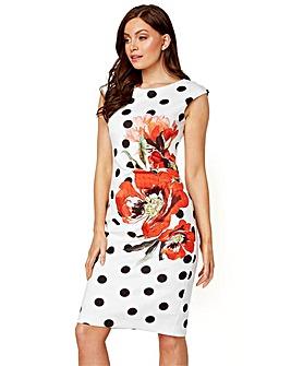 Roman Spot Floral Print Scuba Dress