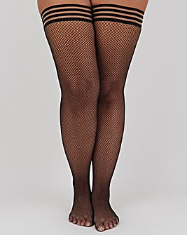 Simply Be London Collection Stripe Top Single Fishnet Hold Ups