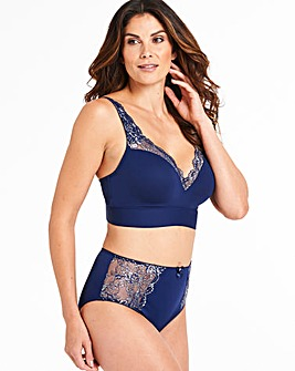 Pretty Secrets Ella Lace Navy Lurex Moulded Lounge Bra