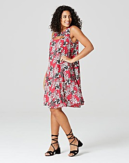 Raspberry Print Cut Out Neck Swing Dress