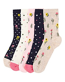 5 Pack Floral Print Ankle Socks