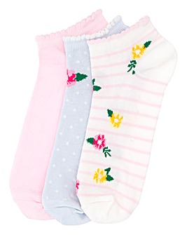 3 Pack Floral Print Trainer Liners