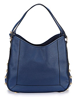 Navy Studded Hobo Bag