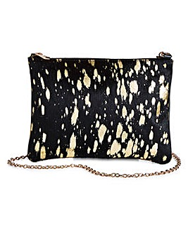 Leather Animal Print Clutch Bag