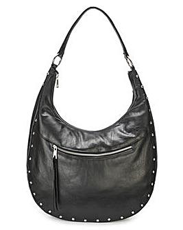 Leather Studded Hobo Bag