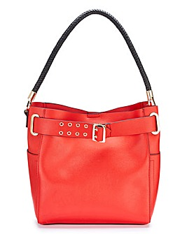 Red Plaited Handle Bucket Bag