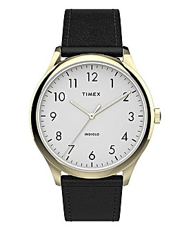 Timex Classic Gold & Black Leather Watch