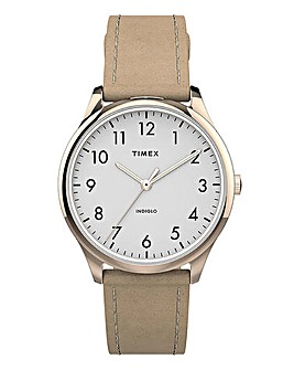 Timex Easy Read Beige Leather Watch