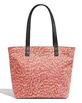 Oasis Feather Animal Suedette Tote