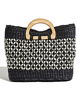 Oasis Monochrome Straw Tote Bag