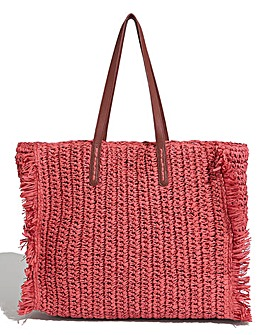 Oasis Orange Big Straw Tote Bag