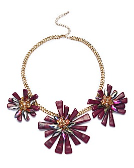 Statement Perspex Flower Collar Necklace