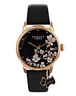 Radley Floral Black Leather Strap Watch