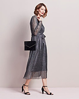 Pleated Midi Dress With Tie Belt