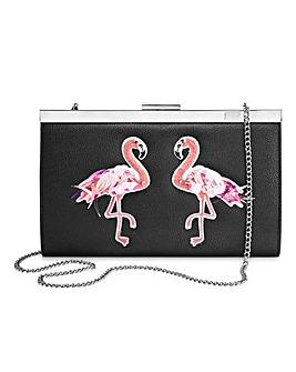 Flamingo Embroidered Clutch Bag