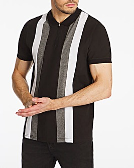 Vertical Stripe Zip Neck Polo