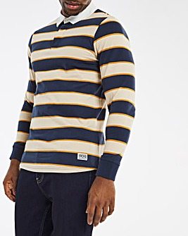 Long Sleeve Striped Rugby Polo