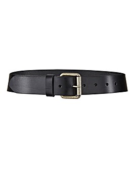 Leather Jeans Belt with Bronze Buckle