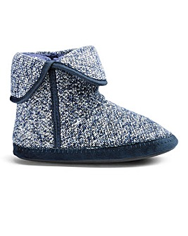 Navy Knitted Boot Slippers