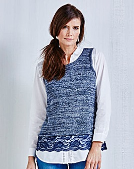 JOANNA HOPE Lace-Trim Knitted Top