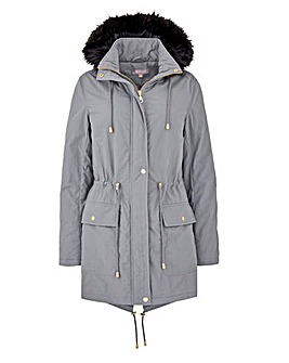 Faux Fur Trim Padded Parka