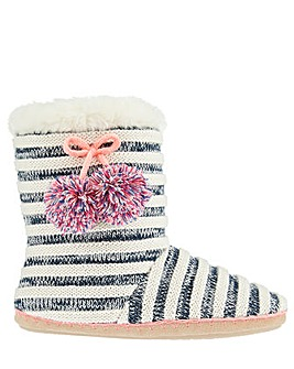 Accessorize Knitted Navy Striped Boots