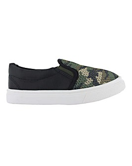 Boys Camo Slip on Trainers