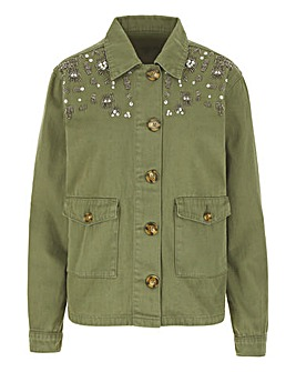 Khaki Shacket with Embellishment
