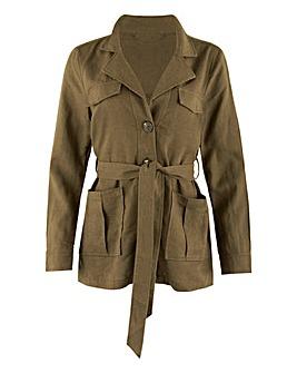 Khaki Belted Utility Linen Jacket