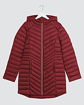 Burgundy Lightweight Padded Mid Length Jacket with Shower Resistant Coating