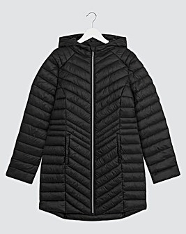 Black Hooded Lightweight Padded Mid Length Jacket with Shower Resistant Coating