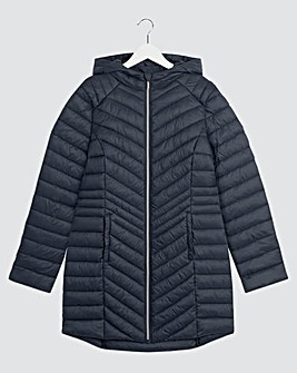 Navy Lightweight Padded Pack Away Jacket with Concealed Hood