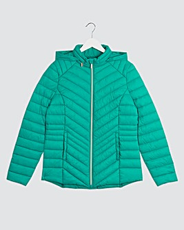 Jade Lightweight Padded Pack Away Jacket with Concealed Hood