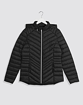 Black Lightweight Short Padded Jacket