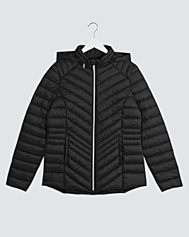 Black Lightweight Padded Pack Away Jacket with Concealed Hood