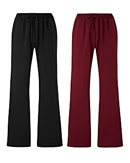 2PK Stretch Jersey Bootcut Trousers Long