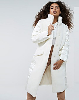 Cream Borg Padded Mix Coat