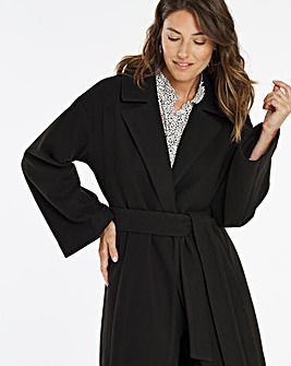 Black Wrap Collar Coat