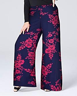 Print Super Wide Flared Leg Trousers Sht