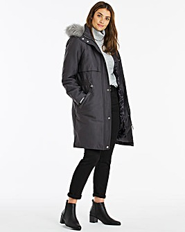 Dark Grey Luxe Parka Coat