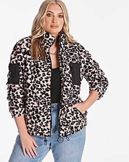 Sporty Animal Print Teddy Fleece Jacket