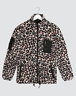 Sporty Animal Print Teddy Fleece Jacket