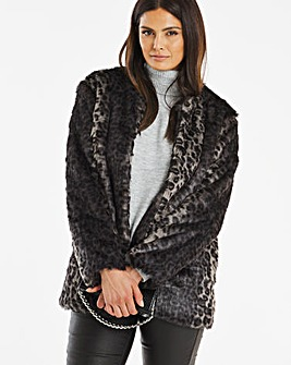 Grey Leopard Print Faux Fur Coat