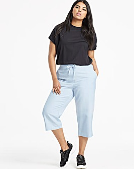Easy Care Linen Mix Crop Trousers