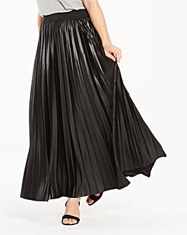 Wet Look Sunray Pleat Maxi Skirt