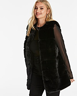 Black Stepped Faux Fur Gilet