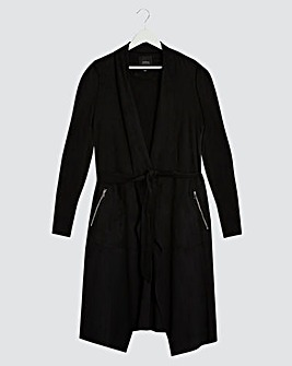 Black Longline Belted Suedette Waterfall Jacket with Jersey Panel Sleeves