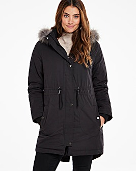 Black Faux Fur Lined Parka